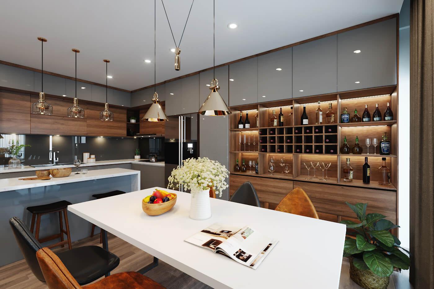 Sử dụng màu gỗ tự nhiên là chủ đạo cùng hệ thống đèn chiếu sáng, căn phòng trở thành một không gian vô cùng ấm áp, hiện đại.