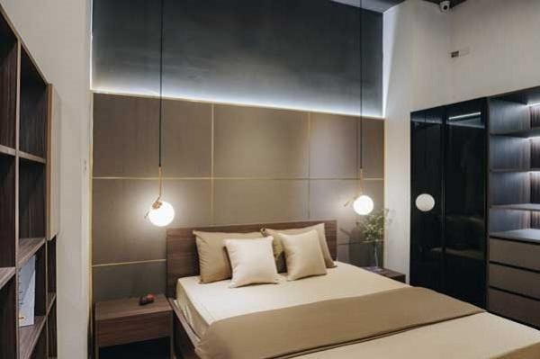 Giường ngủ đôi Flexfit bằng gỗ công nghiệp sử dụng hệ module khi xảy ra hư hỏng, dễ dàng thay thế với chi phí thấp.
