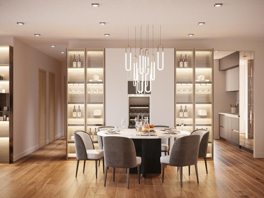 Phòng ăn mang lại cảm giác như bước chân vào những nhà hàng sang trọng nhờ sự kết hợp tinh tế của đồ nội thất.