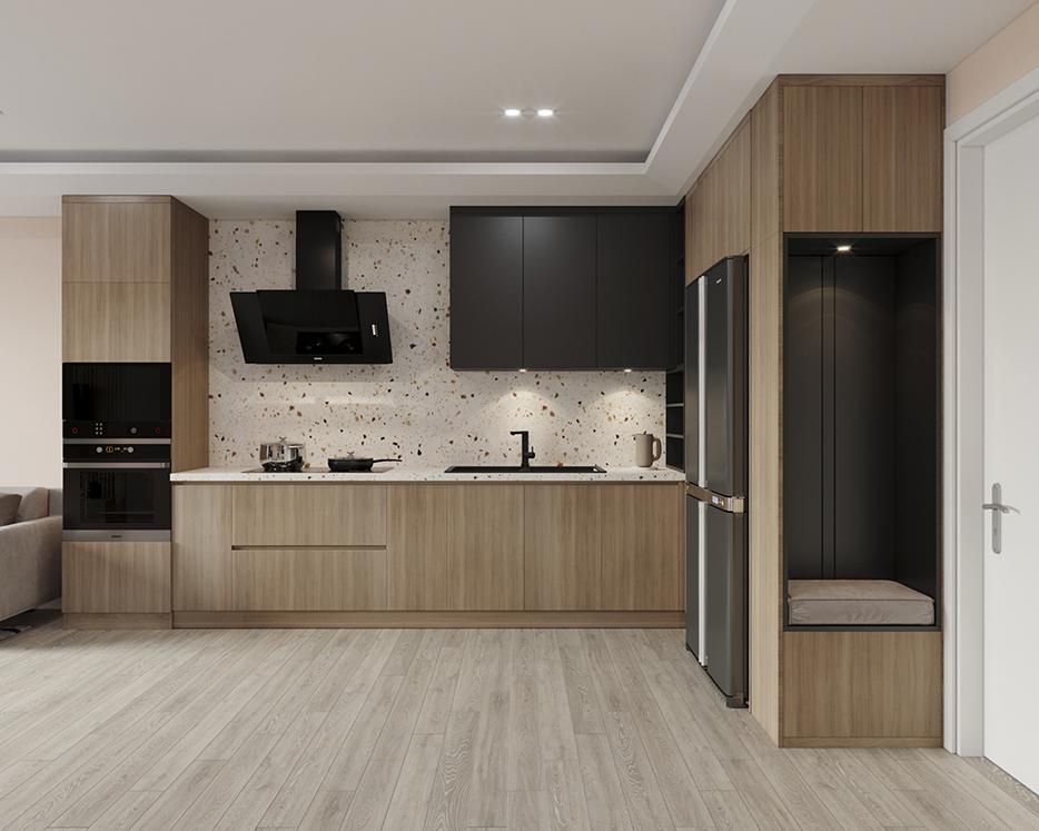 Tủ bếp gồm các ô chứa to mang lại cảm giác rộng và thoáng cho căn bếp.