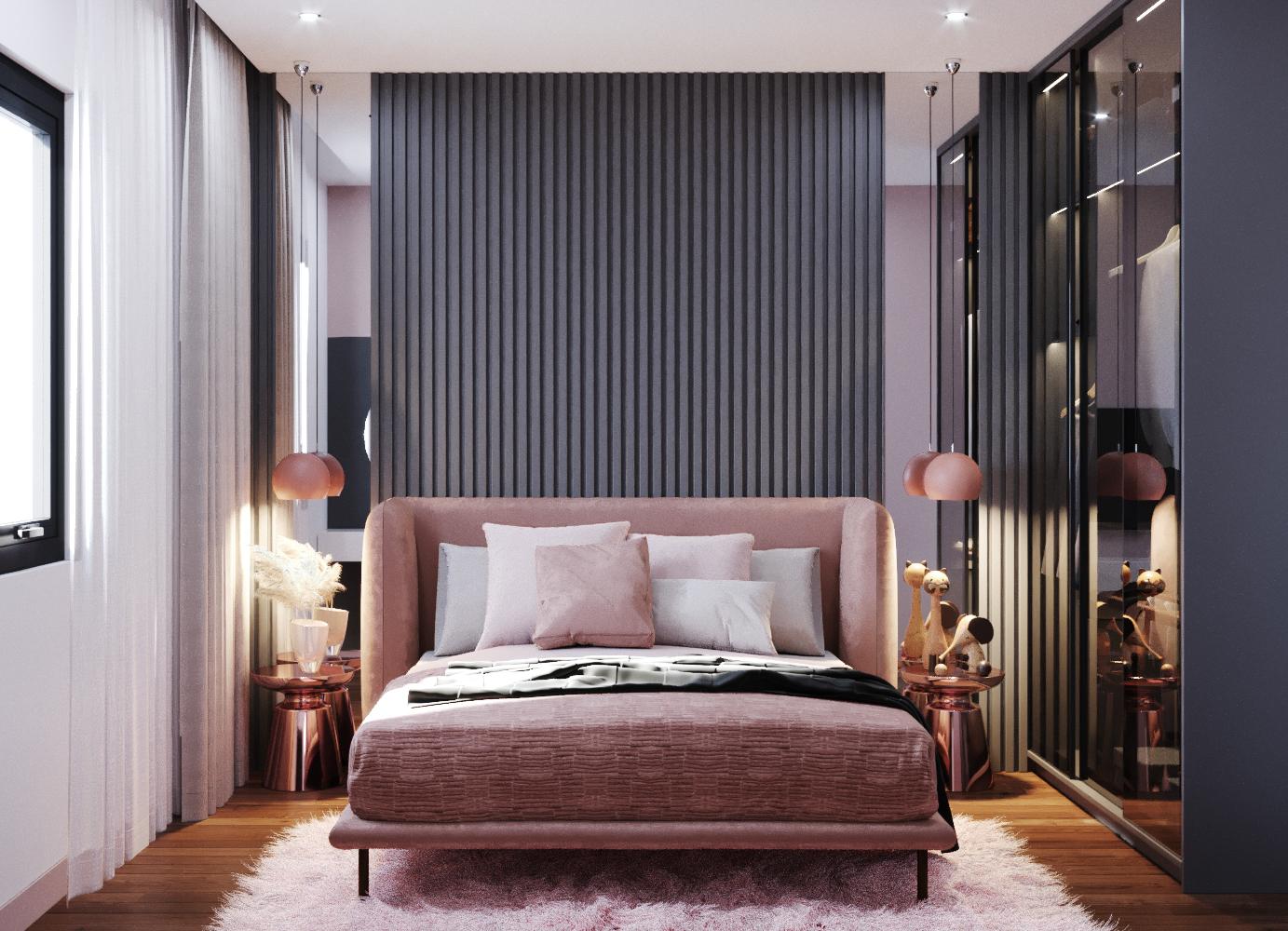 Phòng ngủ vợ chồng thêm sang trọng với giường bọc nỉ, thảm trải lông