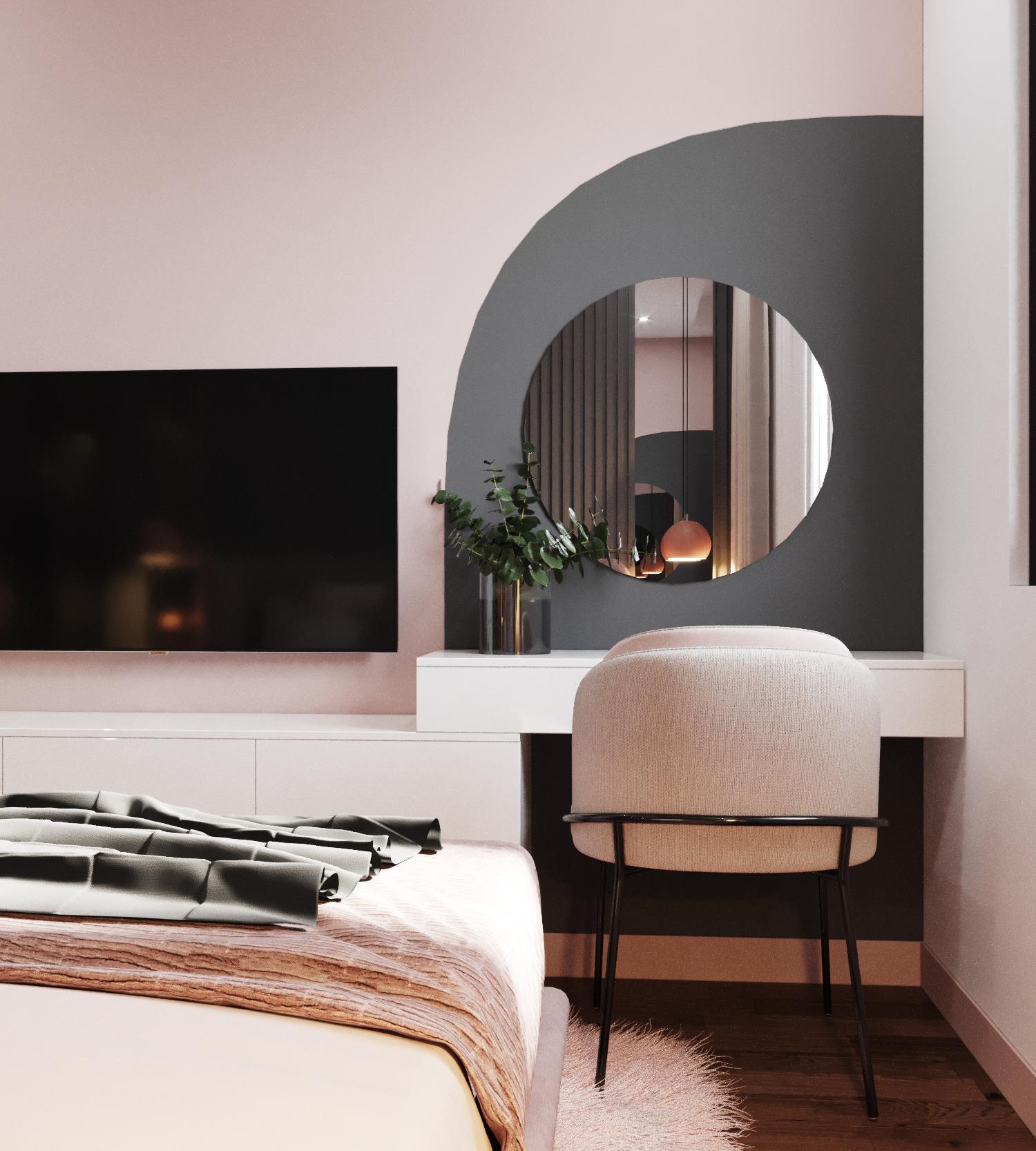 Sắc hồng ghi nhạt và những đường cong mềm mại nơi tường, gương, ghế trang điểm tăng thêm vẻ ngọt ngào, duyên dáng cho phòng ngủ