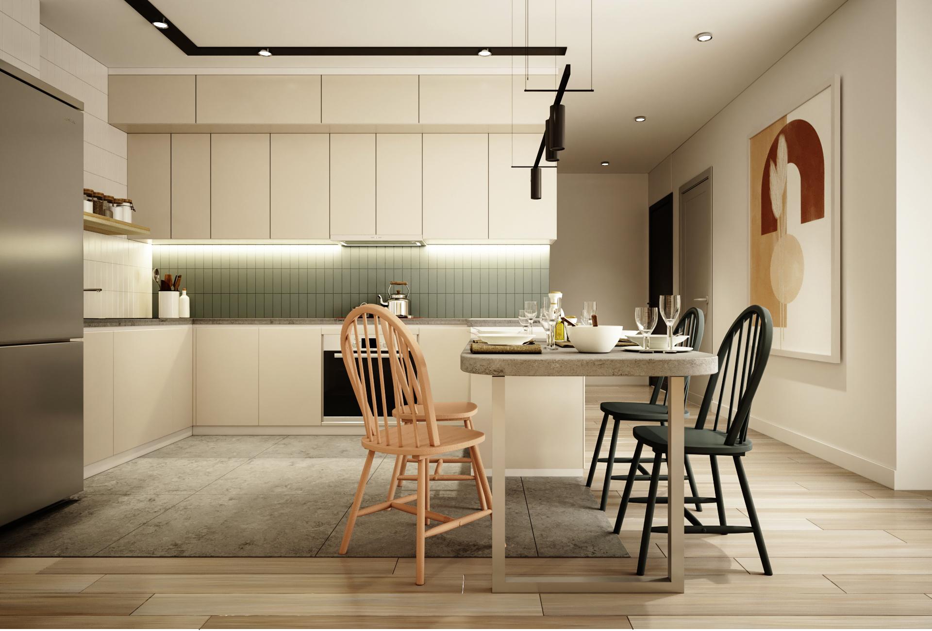 Đối với những không gian bếp nhỏ thì nên chọn những tủ bếp sáng màu để giúp tạo cảm giác nới rộng không gian và thông thoáng.