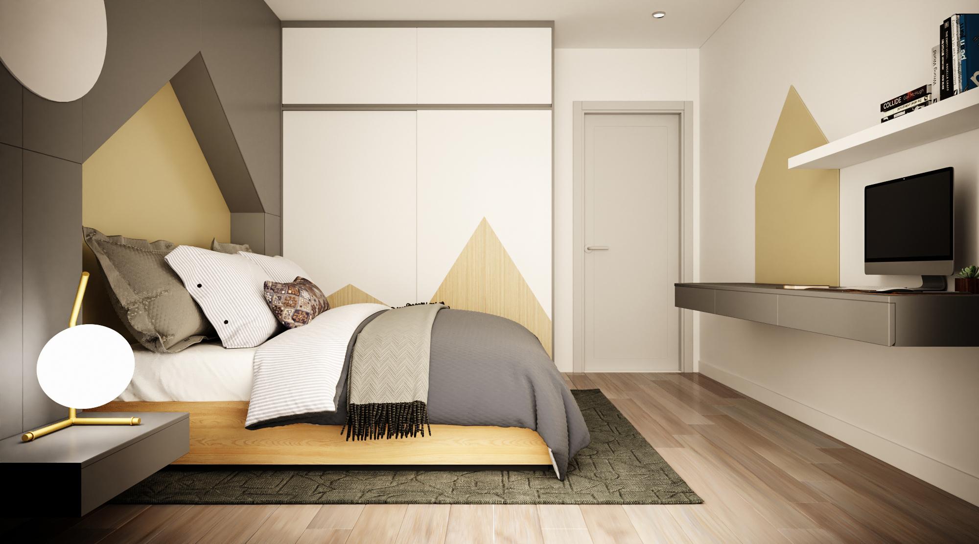 Biểu tượng lục giác màu nâu cam được sử dụng cả trên tường, tủ tạo nên sự kết nối đồng nhất và hiệu ứng thị giác mạnh mẽ