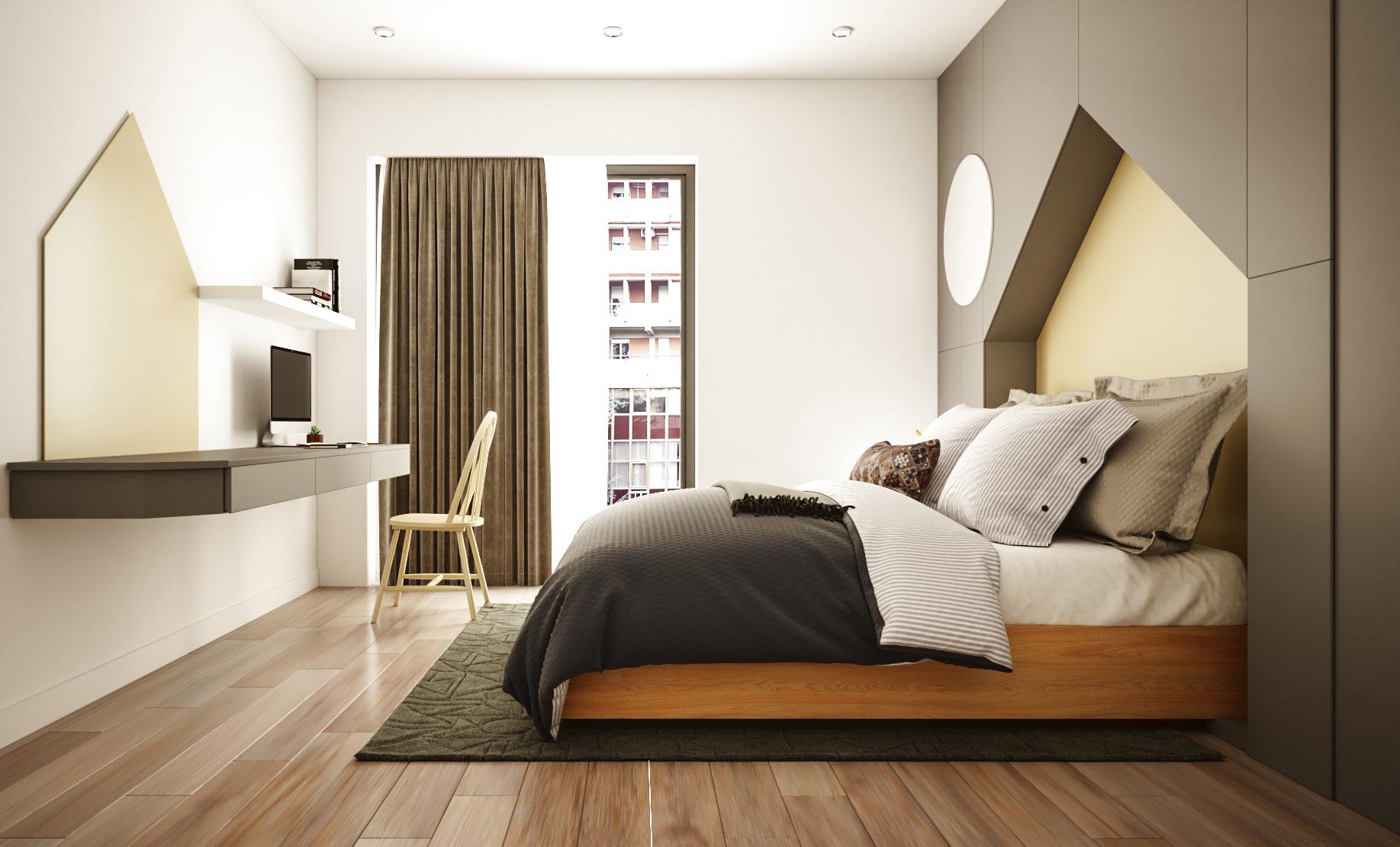 Thiết kế đầu giường nằm sâu trong hình lục giác màu nâu cam trên tường quả đầy bất ngờ và thú vị