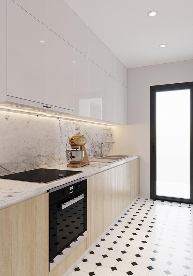 Tủ bếp trên làm từ chất liệu MDF phủ Acrylic màu trắng sáng, vừa đảm bảo chất lượng bền bỉ và làm cho căn bếp 12m2 trông càng rộng rãi, thoáng đãng