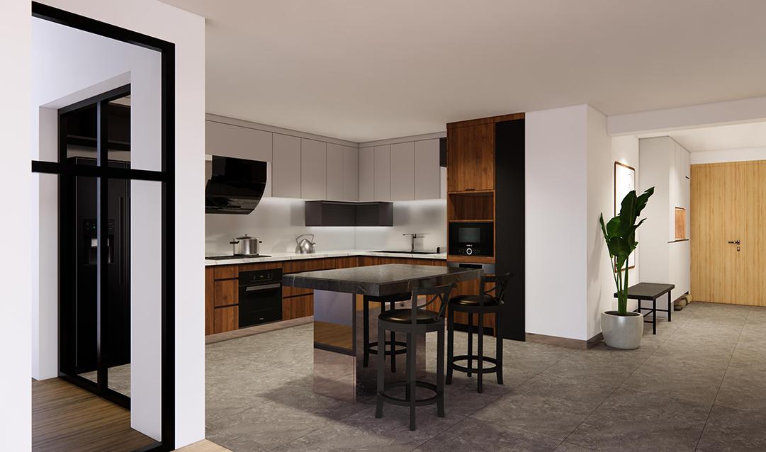 """Diện tích bếp 10m2 được lắp đặt 1 bàn đảo trụ kim loại và mặt đá cùng tủ bếp chữ L hiện đại. Tủ bếp dưới và trên có màu vân gỗ nâu ấm tiết chế cảm giác lạnh và """"công nghiệp"""" của thiết kế."""