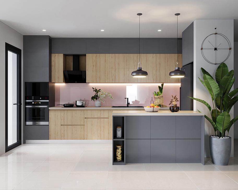 Căn bếp 7m2 sử dụng tủ bếp lõi MDF phủ Melamine chống ẩm tốt kết hợp bàn đảo đá. Gam màu chủ đạo là xám lạnh phối vân gỗ sáng giúp căn bếp mang vẻ đẹp hiện đại, tạo cảm giác thoáng sạch.