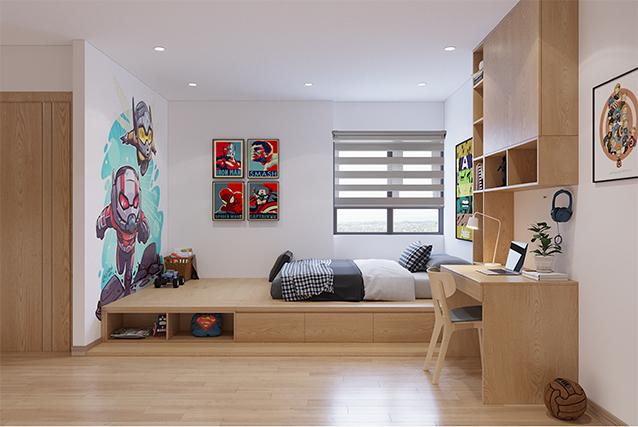 Chiếc giường MDF phủ Melamine vân gỗ sáng vừa có chỗ để chơi vừa có hộc để đồ và ngăn kéo tiện dụng. Với những ưu điểm này, đây là mẫu giường bố mẹ nên đặt trong phòng con trai mình.