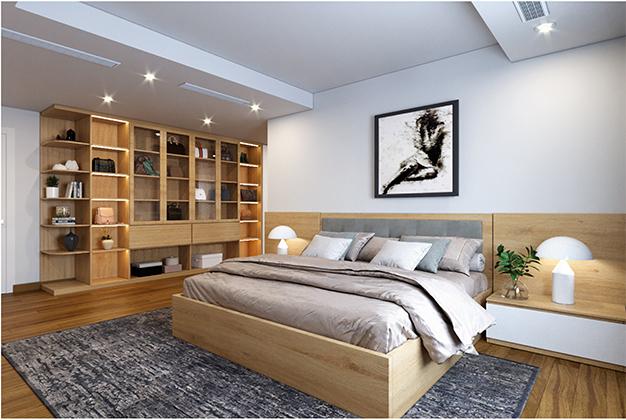 Giường đôi thoải mái cho hai người lớn nằm này sở hữu gam màu vân gỗ sáng, rất phù hợp với những căn phòng sơn màu trắng.