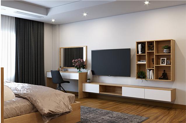 Thiết kế thêm khoang chứa đồ kích thước linh hoạt bày những chậu cây, vật kỷ niệm nhỏ xinh càng làm cho phòng ngủ vợ chồng thêm thú vị