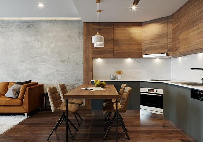 Bên cạnh những đường nét gấp khúc ấn tượng, hãy thiết kế tủ bếp kịch trần, kịch sàn để lấy thêm không gian để đồ, bạn nhé!