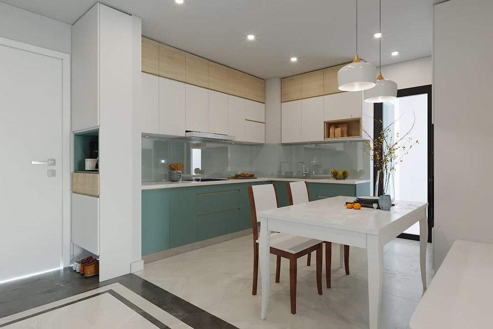 Căn bếp chữ L kết hợp bàn ăn tiện lợi sử dụng tủ bếp thiết kế kịch trần phối 3 màu nâu gỗ sáng - trắng và xanh đẹp mắt