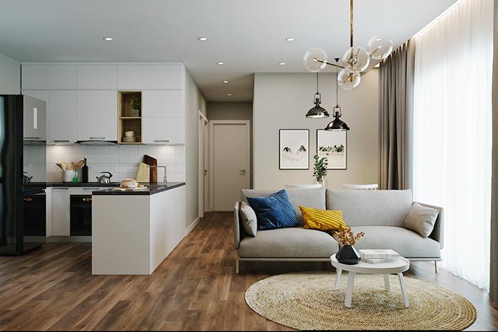 Tủ bếp chữ L là sự lựa chọn tuyệt vời cho các căn hộ chung cư