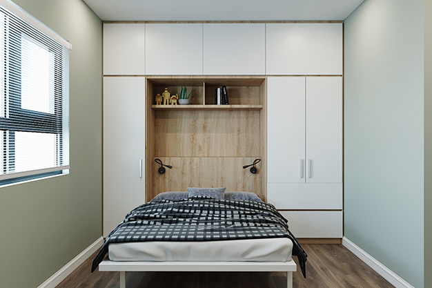Kết hợp giường âm tường với giá sách và tủ quần áo tạo nên một sản phẩm đa chức năng