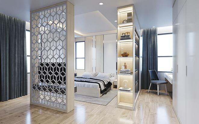 Nhờ việc sử dụng vách ngăn hở mà không gian ngủ và không gian làm việc vừa có tính kết nối vừa có sự riêng tư
