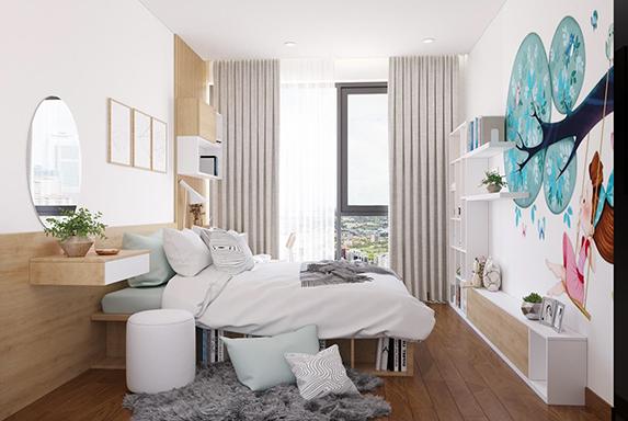Tranh vẽ tường sinh động, giường ngủ tích hợp ô trữ sách, kệ trang trí kết hợp giá sách là những điểm nhấn đầy sáng tạo trong thiết kế nội thất phòng ngủ hiện đại này
