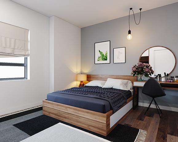 Sử dụng nội thất màu nâu gỗ cùng ánh đèn vàng sẽ giúp phòng ngủ vợ chồng trở nên ấm cúng, gần gũi hơn