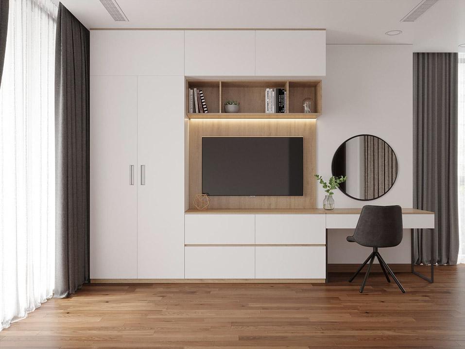 Tủ áo được thiết kế tích hợp nhiều tiện ích giúp tối ưu không gian phòng