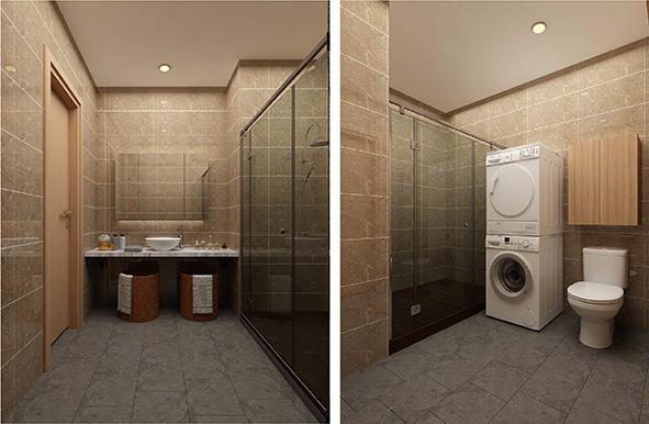 Khu vực tắm, giặt ốp gạch vân đá sang trọng, sáng bóng, sạch sẽ và tiện dụng
