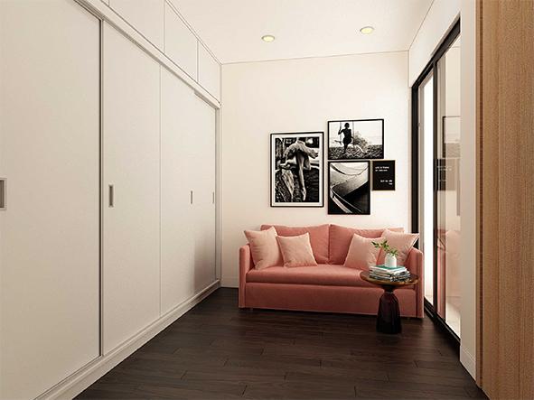 Nơi để quần áo, thay đồ, ngồi chờ, tiếp khách được thiết kế hẳn khu vực riêng nhưng vẫn giữ tông màu hồng pastel lãng mạn làm chủ đạo