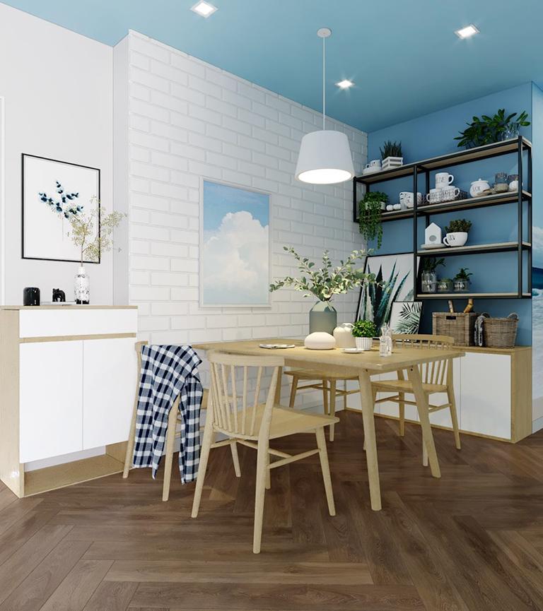 Tận dụng kệ trang trí để tạo thành một vách ngăn đầy tính thẩm mỹ cho căn bếp của gia đình bạn.