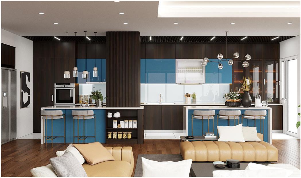 Chất liệu Acrylic sang trọng kết hợp với sắc xanh cổ điển - trắng tinh khôi của tủ bếp mang đến vẻ đẹp thanh lịch, hiện đại và cảm giác dễ chịu cho căn bếp 12m2