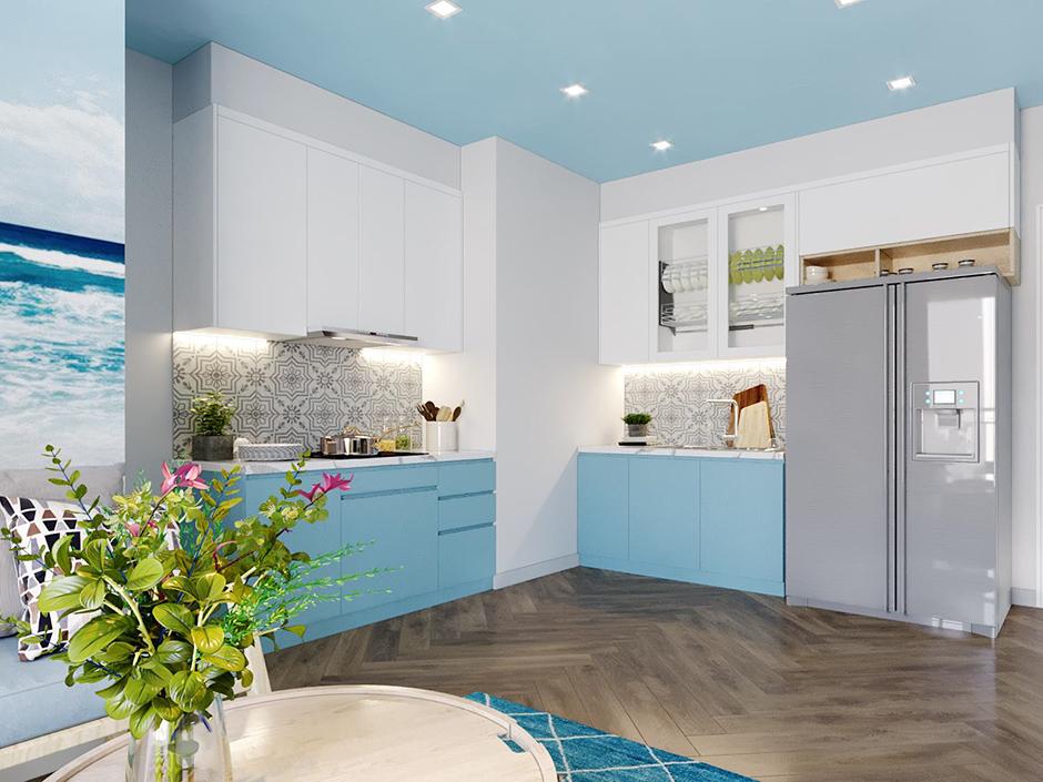 Mẫu tủ bếp mang lại sự tiện nghi mà vẫn giúp căn bếp đẹp và ấn tượng.