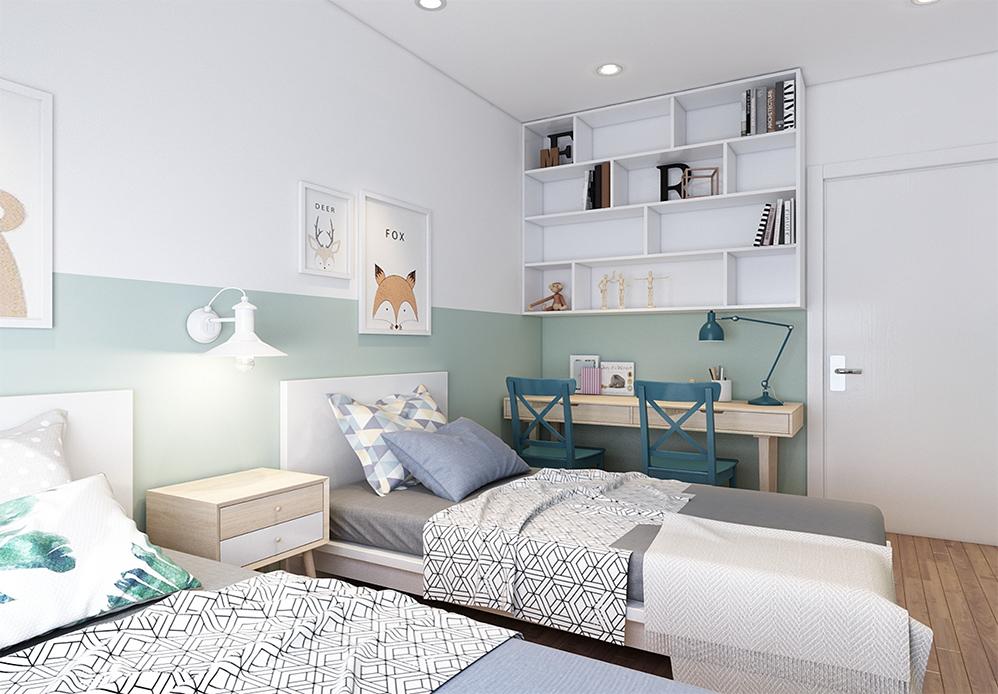 Kệ sách kết hợp kệ trang trí thiết kế khoang ô linh hoạt giúp bày nhiều đồ khác nhau và tăng thêm tính thẩm mỹ cho nội thất phòng ngủ hiện đại