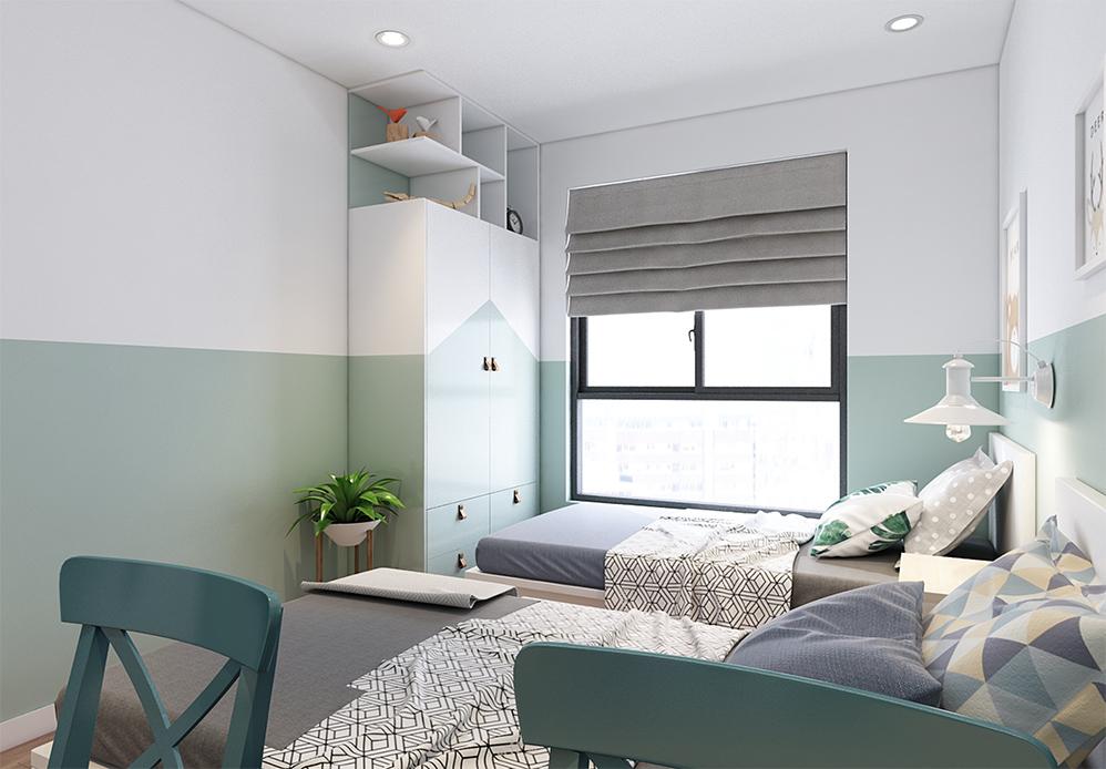 Màu xanh pastel được sơn từ lưng tường kết hợp với màu xanh pastel của tủ tạo thành sự chuyển tiếp nhẹ nhàng, thông suốt và hiệu ứng hình khối, màu sắc ấn tượng