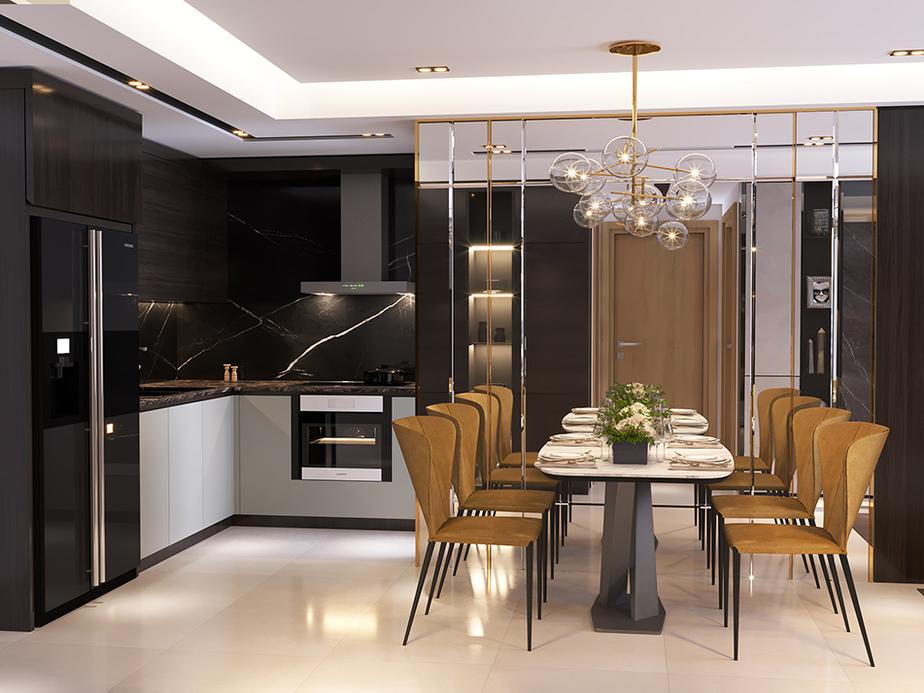 Ghế ăn màu gỗ lạ mắt kết hợp với bàn ăn mặt đá sang trọng mang lại vẻ đẹp thanh lịch, đầy cá tính cho không gian bếp.
