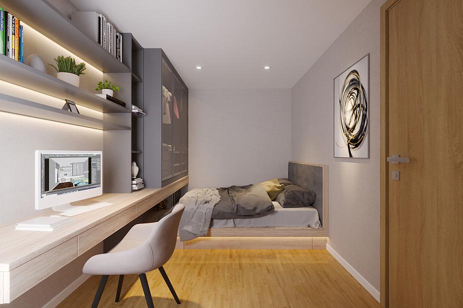 Hãy thiết kế bàn làm việc kéo dài tới tận tường để tạo nên sự kết nối thông suốt