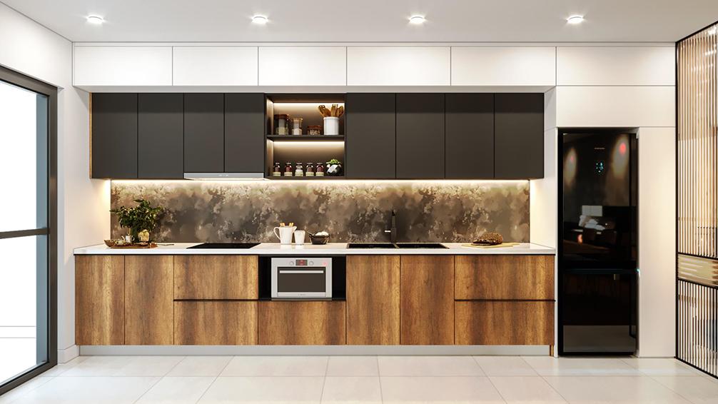 Tủ bếp chữ I chất liệu lõi MDF bề mặt Laminate chịu nhiệt tốt. Thiết kế hiện đại cùng phối màu tinh tế giữa màu trắng và các màu trung tính như ghi, nâu vân gỗ mang lại vẻ đẹp sang trọng cho căn bếp.