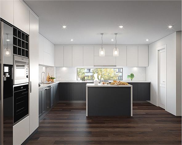 Ô cửa kính dài nằm giữa hai tủ bếp giúp lấy sáng vào không gian nấu nướng hiệu quả và tăng tính kết nối với không gian bên ngoài.