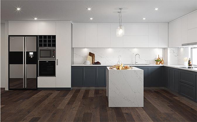 Bàn đảo và tủ bếp được thiết kế đồng điệu, mang lại vẻ đẹp hài hoà cho căn bếp.