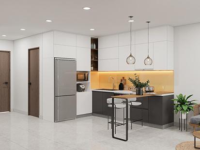 Đây là mẫu tủ bếp treo tường chữ L làm từ gỗ MDF phủ Melamine phù hợp với không gian phòng bếp nhỏ. Màu trắng đồng bộ với màu sơn. Tủ được thiết kế thêm ô tủ hở đựng gia vị tiện lợi và tạo điểm nhấn.
