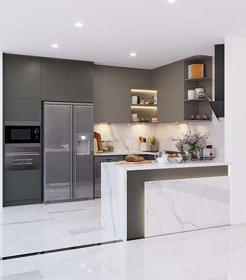 Góc bếp của bạn sẽ trở nên sang trọng, lịch lãm hơn với tủ bếp chữ L lõi MDF chống ẩm phủ Laminate màu xám ghi. Ngoài ra tủ còn kết hợp với các khoang không cánh để trang trí, tăng tính thẩm mỹ.