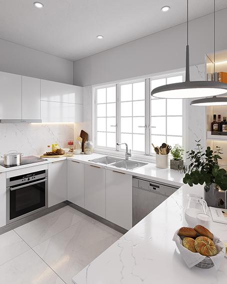 Không gian bếp diện tích nhỏ trông không hề bí bách mà thoáng rộng hơn nhờ tông màu trắng của nội thất bếp và cửa sổ đón ánh sáng tự nhiên