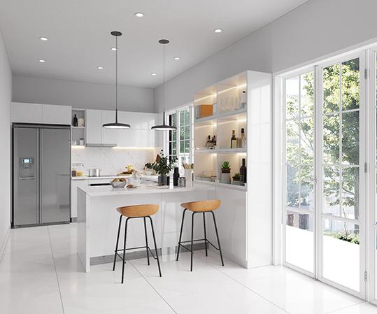 Thiết kế bếp ấn tượng giúp mang lại vẻ đẹp hoàn mỹ cho không gian gia đình bạn.