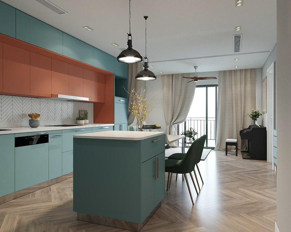 """Hệ thống tủ bếp và bàn đảo bếp này còn đầy tiện dụng với thiết kế kịch sàn, kịch trần; kết hợp """"2 trong 1"""" giữa bàn đảo bếp và bàn làm việc"""