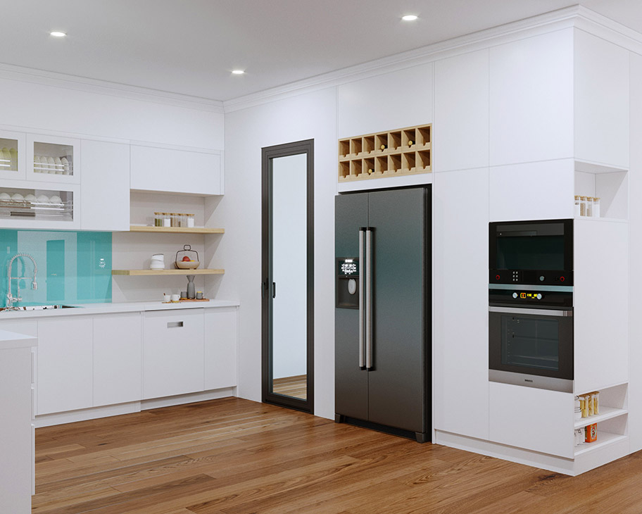 Tủ bếp thiết kế thông minh với những ô kín, không cánh, cánh kính, kệ giá đỡ xen kẽ giúp người dùng dễ dàng bày các món đồ làm bếp, gia tăng sự tiện lợi