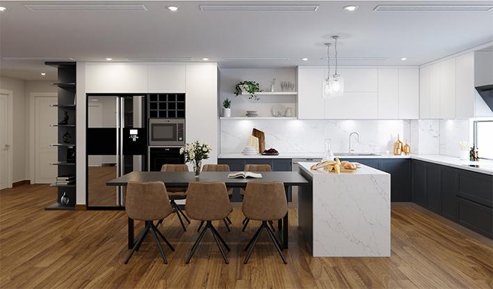 Cách xếp bàn đảo bếp liền bàn ăn mang lại sự thuận tiện trong quá trình nấu nướng.