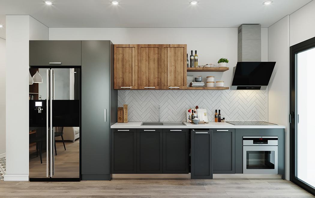 Cửa kính ra vào ngay phía bên phải giúp lấy sáng hiệu quả, mở rộng không gian và làm cho căn bếp càng thêm sáng, thoáng hơn