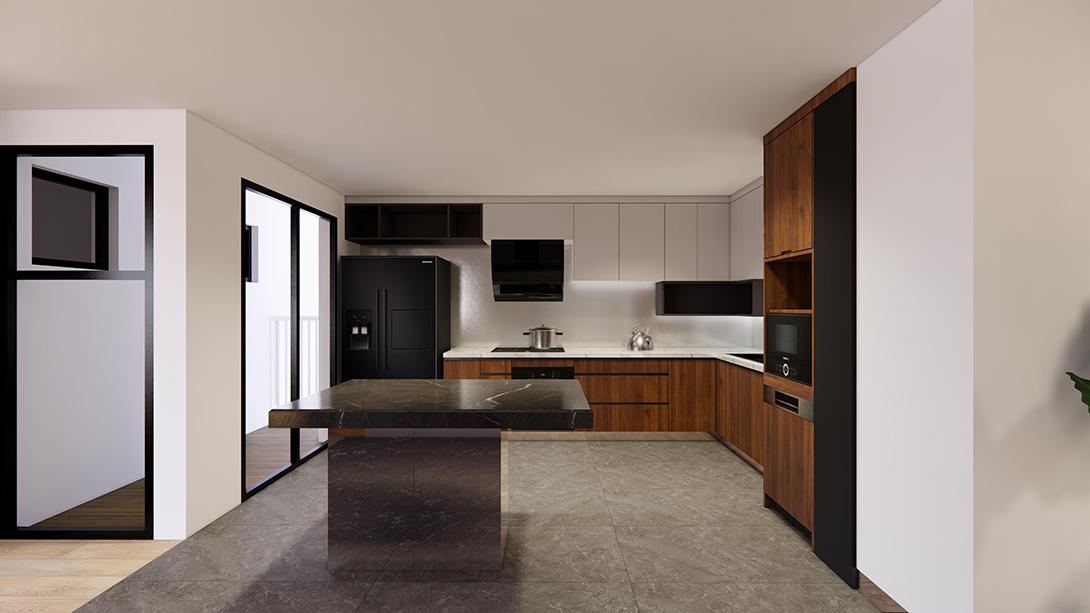 Với kích thước lớn, mẫu tủ bếp Plywood phù hợp với những căn bếp có diện tích rộng.