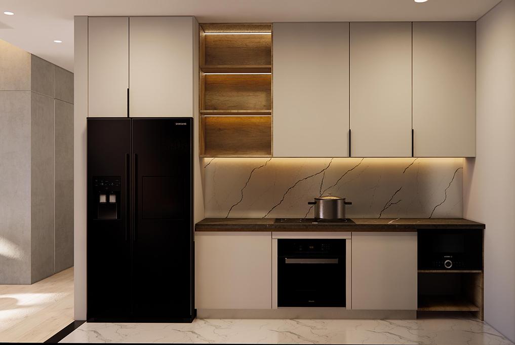 Tủ bếp kích thước 12m2 với thiết kế nhiều ngăn tủ, tăng tối đa không gian lưu trữ và lắp đặt được nhiều thiết bị nấu nướng. Xen kẽ tủ bếp còn có kệ trang trí giúp căn bếp bớt đơn điệu.