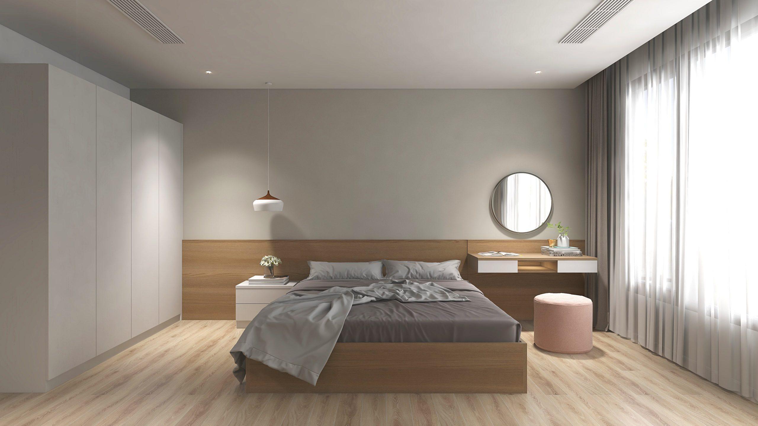 Sử dụng gam màu trung tính, nhạt và trầm sẽ mang đến không gian nghỉ ngơi thoải mái, dễ chịu cho lứa đôi