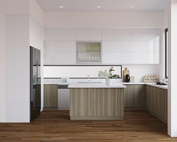 Tủ bếp trên bo góc vừa khít, phủ Acrylic màu trắng cao sang kết hợp ô tủ cánh kính sang trọng nâng tầm đẳng cấp cho căn bếp 8m2