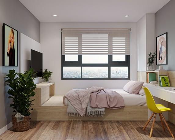 Giường đôi tích hợp thêm ngăn tủ, kệ để đồ và có sự kết nối với bàn học tạo thành một tổng thể nội thất thống nhất và gọn gàng
