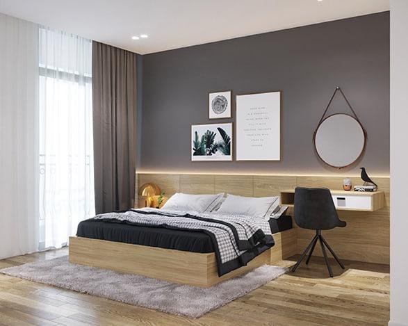 Lựa chọn một chiếc giường MDF phủ Melamine nâu gỗ sáng 2m2 kết nối với bàn cho trang điểm cho phòng ngủ tông màu xám - nâu vân gỗ sáng, tại sao không?