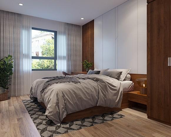 Trông hệt như một chiếc giường gỗ tự nhiên nhưng chiếc giường 2m2 màu nâu gỗ này lại có nhiều đặc điểm ưu việt và giá cả hết sức phải chăng nhờ được làm từ cốt gỗ MDF phủ Melamine